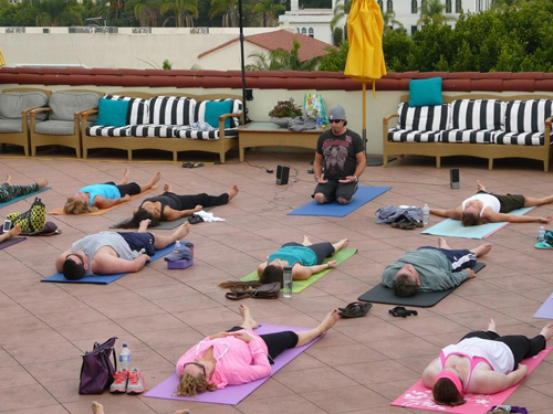 Yoga on the rooftop of the Canary Hotel